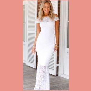 👰🏼HP🎉 White Lace Bardot Wedding Prom Dress💍
